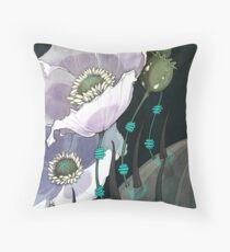 White Opium Poppies  Throw Pillow