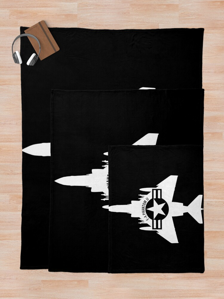 Alternate view of F-4 Phantom II Military Fighter Jet Airplane Throw Blanket