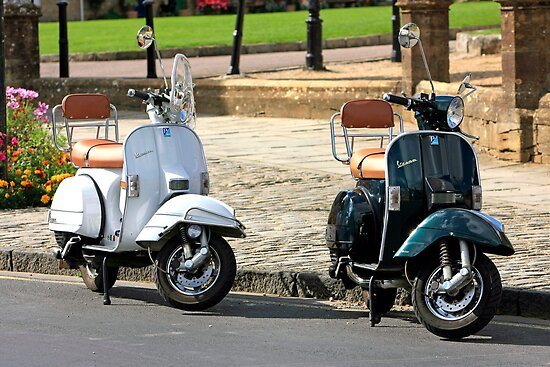 Black and White Vespa Scooters by Chris L Smith