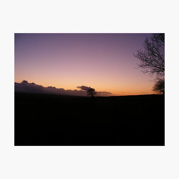 Sunset Looking From Oldborough, Devon. Photographic Print