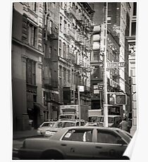 Toned streetscape in Broadway Poster