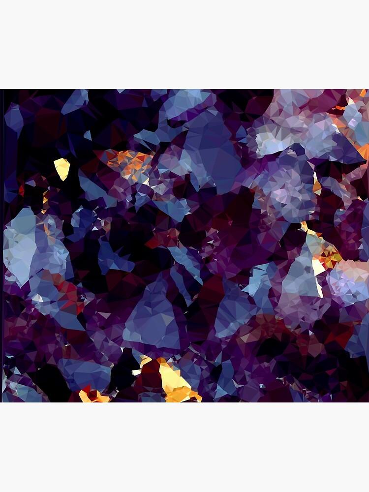 Blue Gold Purple Crystal Low Poly Geometric Triangles    by bragova