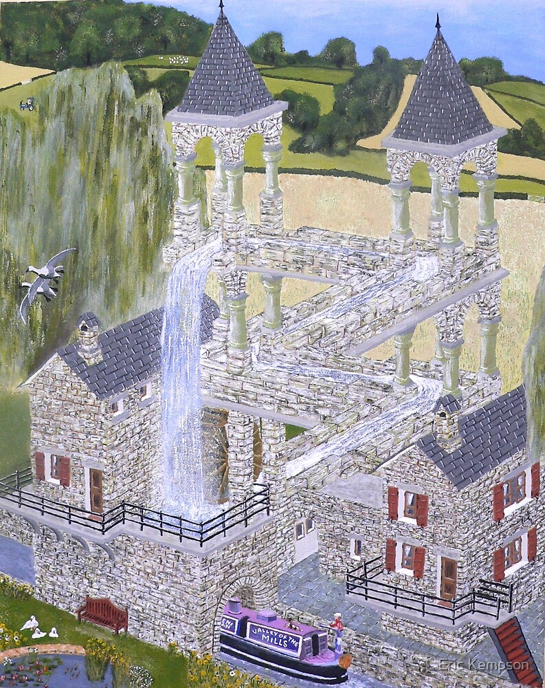 M.C. Escher's Mill landscaped and painted by Eric Kempson by Eric Kempson