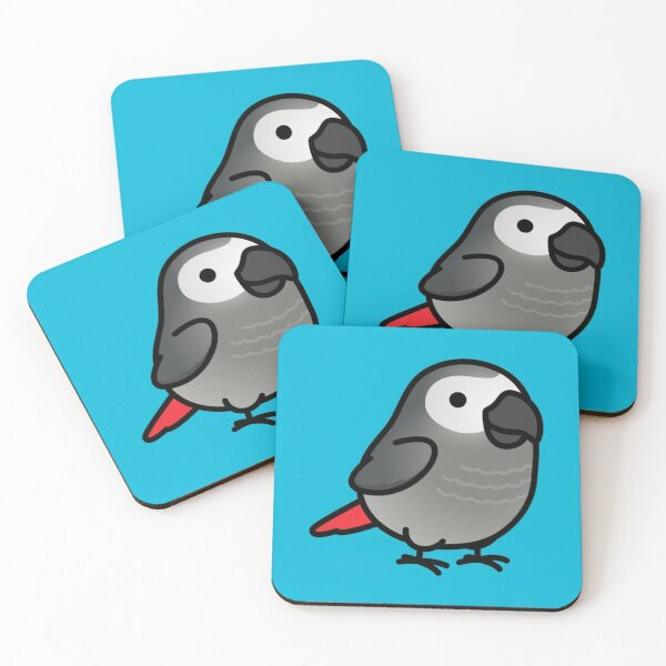 Chubby African Grey Coasters (Set of 4)