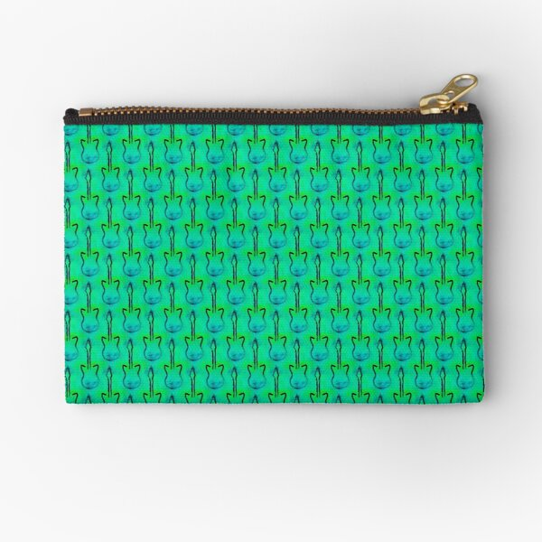 Electric guitars with green-blue background Zipper Pouch