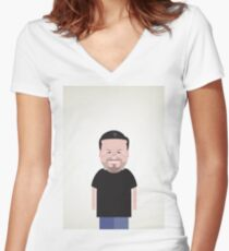 Ricky Gervais. Women's Fitted V-Neck T-Shirt