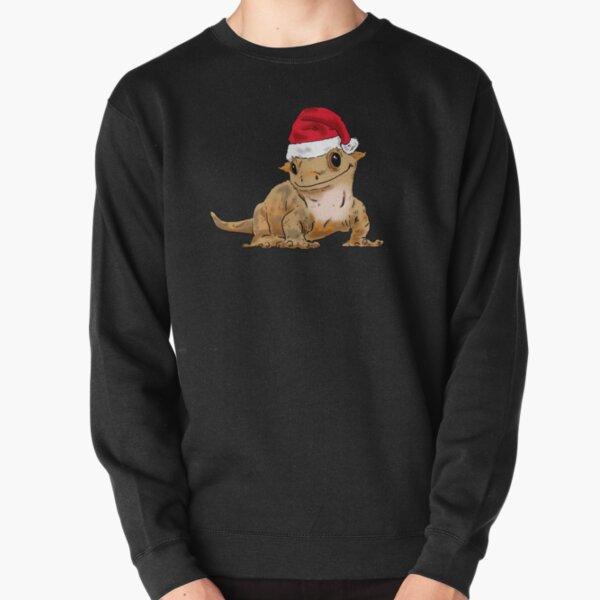 Cute Christmas Crested Gecko, Santa Crestie, Gecko Lovers, Xmas Gecko in Santa Hat Pullover Sweatshirt
