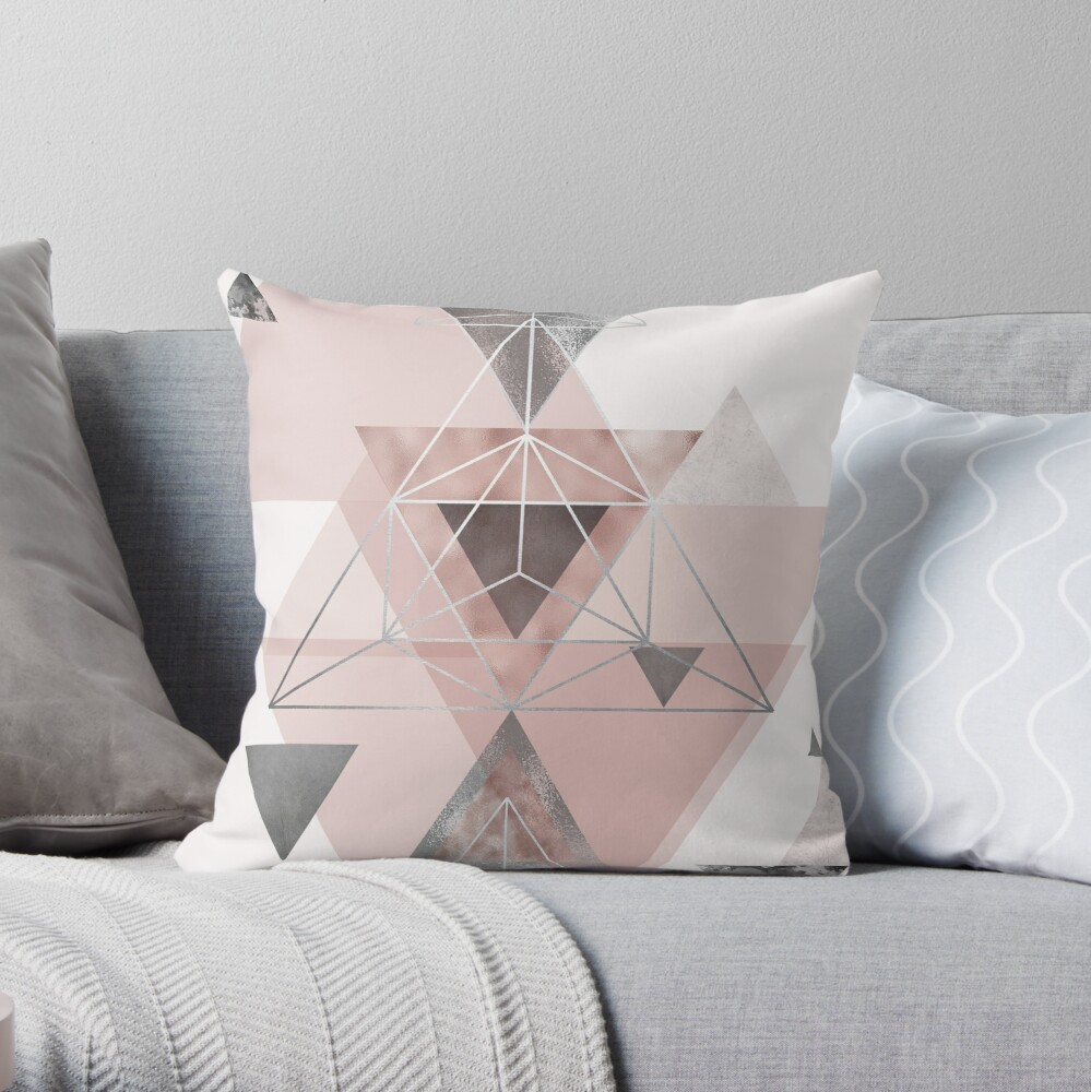 Abstract Geo in blush pink and grey Throw Pillow