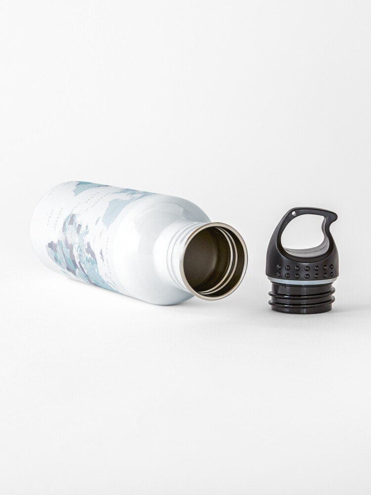 Alternate view of World Map in Blue Water Bottle