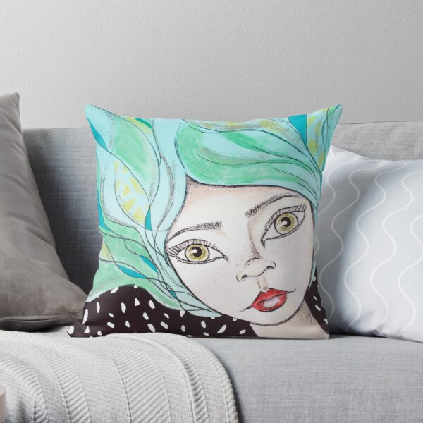 Whimsy blue-haired mixed media pixie girl Throw Pillow