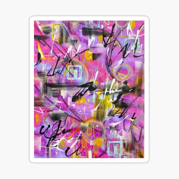 Purple and Magenta Abstract Mixed Media Art Sticker