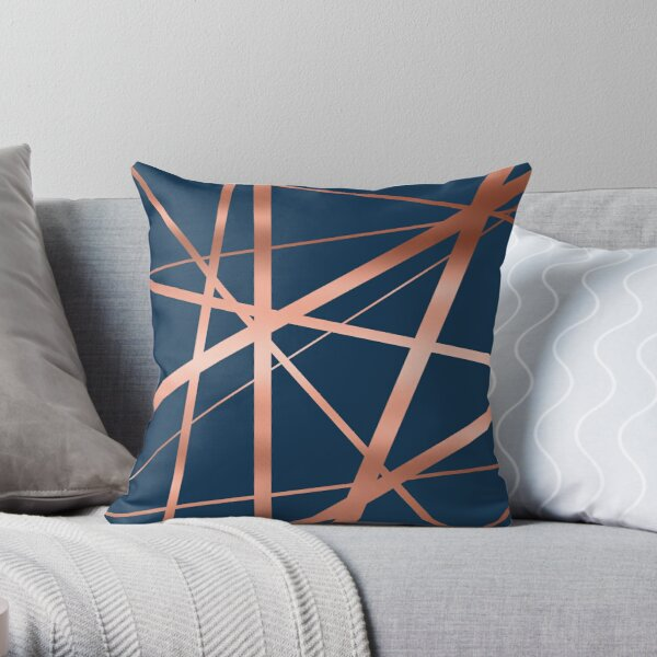 Navy and Copper Luxe Throw Pillow