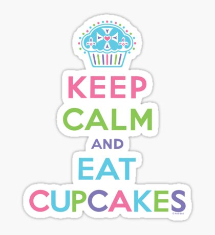 Keep Calm and Eat Cupcakes - beige Sticker