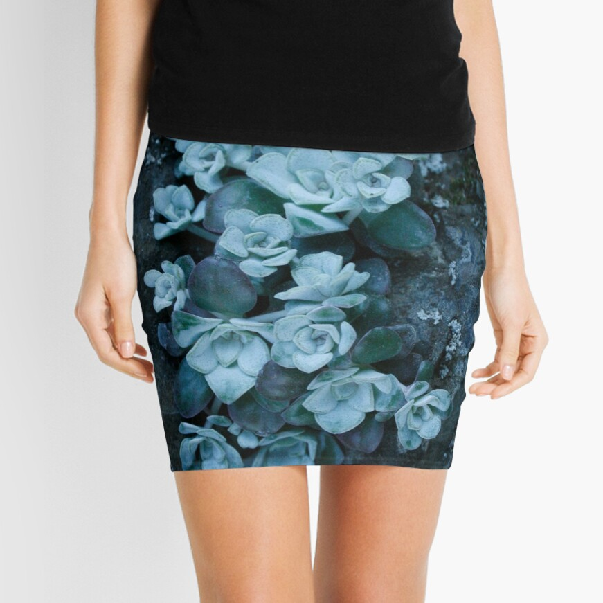 cool blue wild succulents Mini Skirt