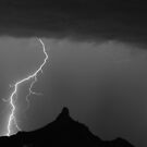 Lightning Storm At Pinnale Peak BW by Bo Insogna