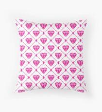 HotPink Diamond Grid Pattern Throw Pillow