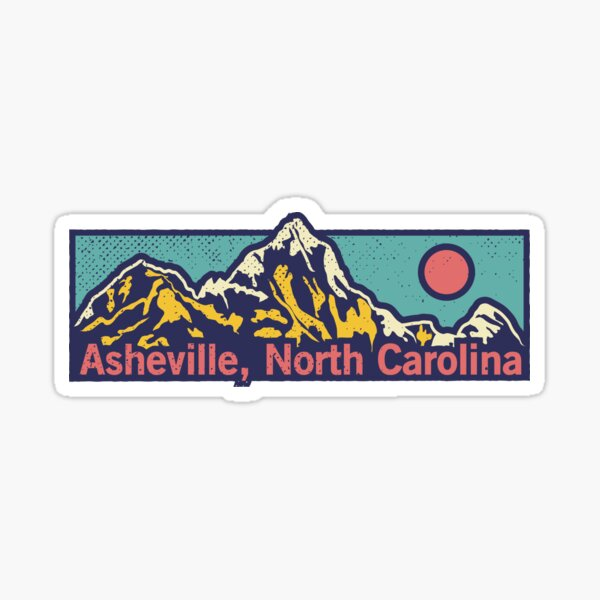 Asheville, North Carolina - Classic Outdoor Mountain Graphic Apparel Sticker