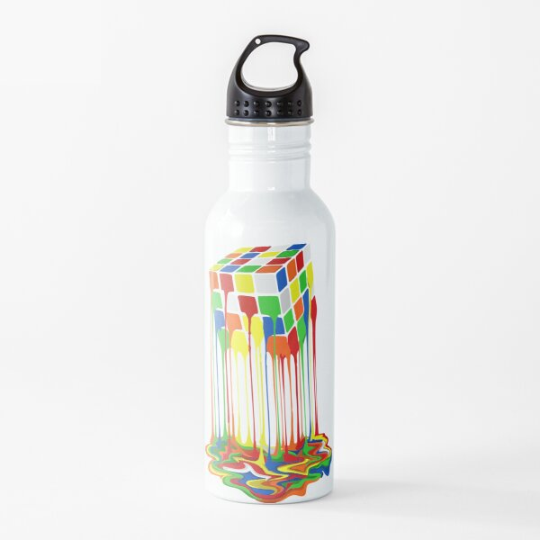 Best Seller Rainbow Abstraction Melted Rubiks Cube Merchandise Water Bottle
