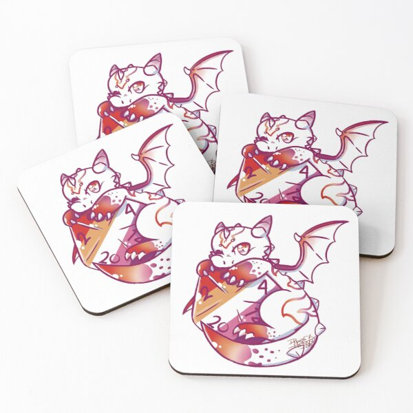 DnD Lesbian Pride Baby Dragon Coasters (Set of 4)