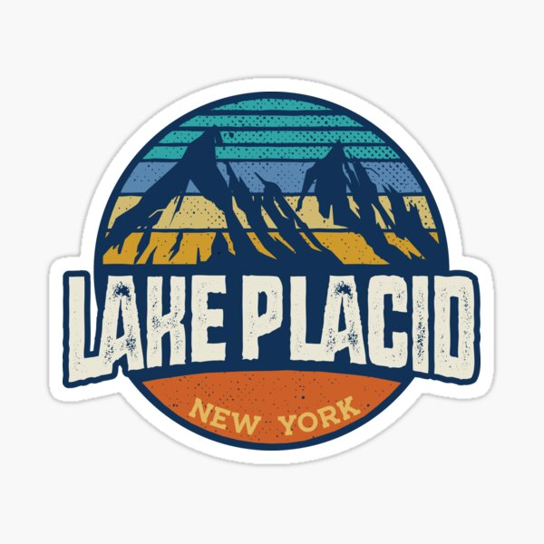 Lake Placid New York - Vintage Mountain Buffalo Graphic Outdoor Apparel  Sticker