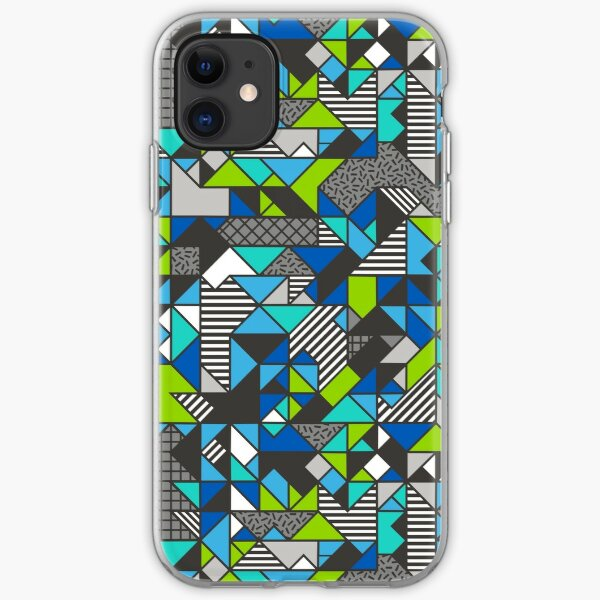 Geometric Shapes and Triangles Blue Mint Green iPhone Soft Case