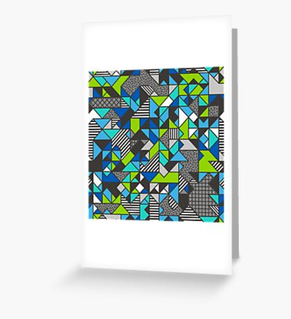 Geometric Shapes and Triangles Blue Mint Green Greeting Card