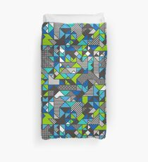 Geometric Shapes and Triangles Blue Mint Green Duvet Cover