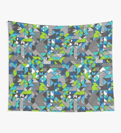 Geometric Shapes and Triangles Blue Mint Green Wall Tapestry