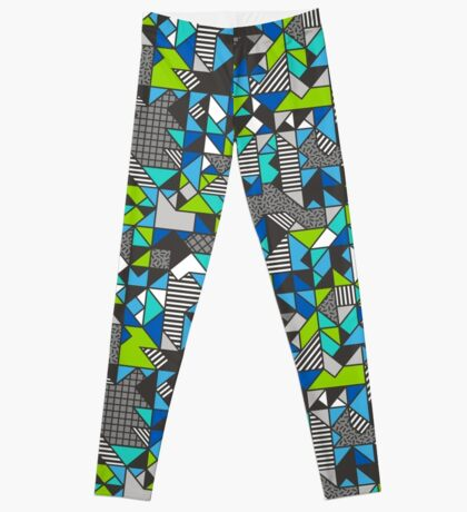 Geometric Shapes and Triangles Blue Mint Green Leggings
