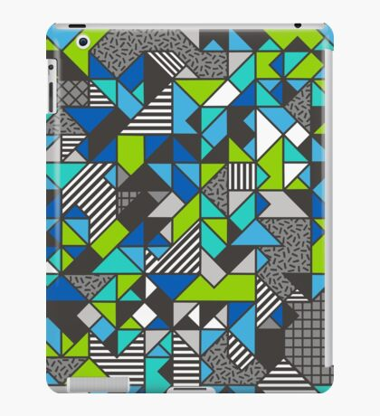 Geometric Shapes and Triangles Blue Mint Green iPad Case/Skin