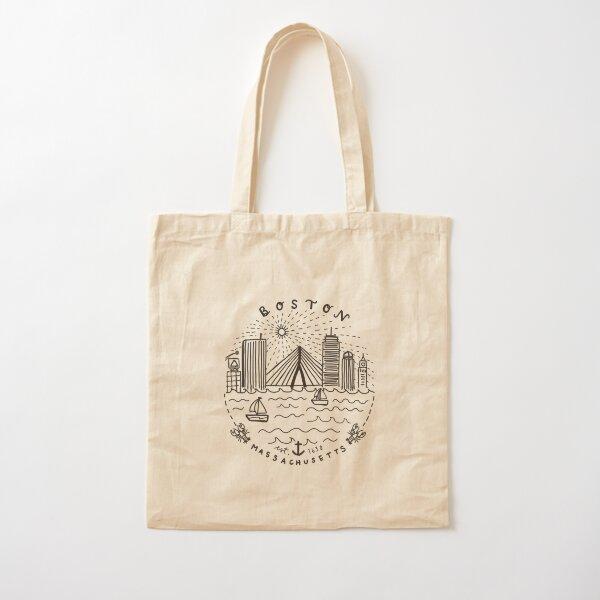 Boston Mass Skyline Collage Cotton Tote Bag