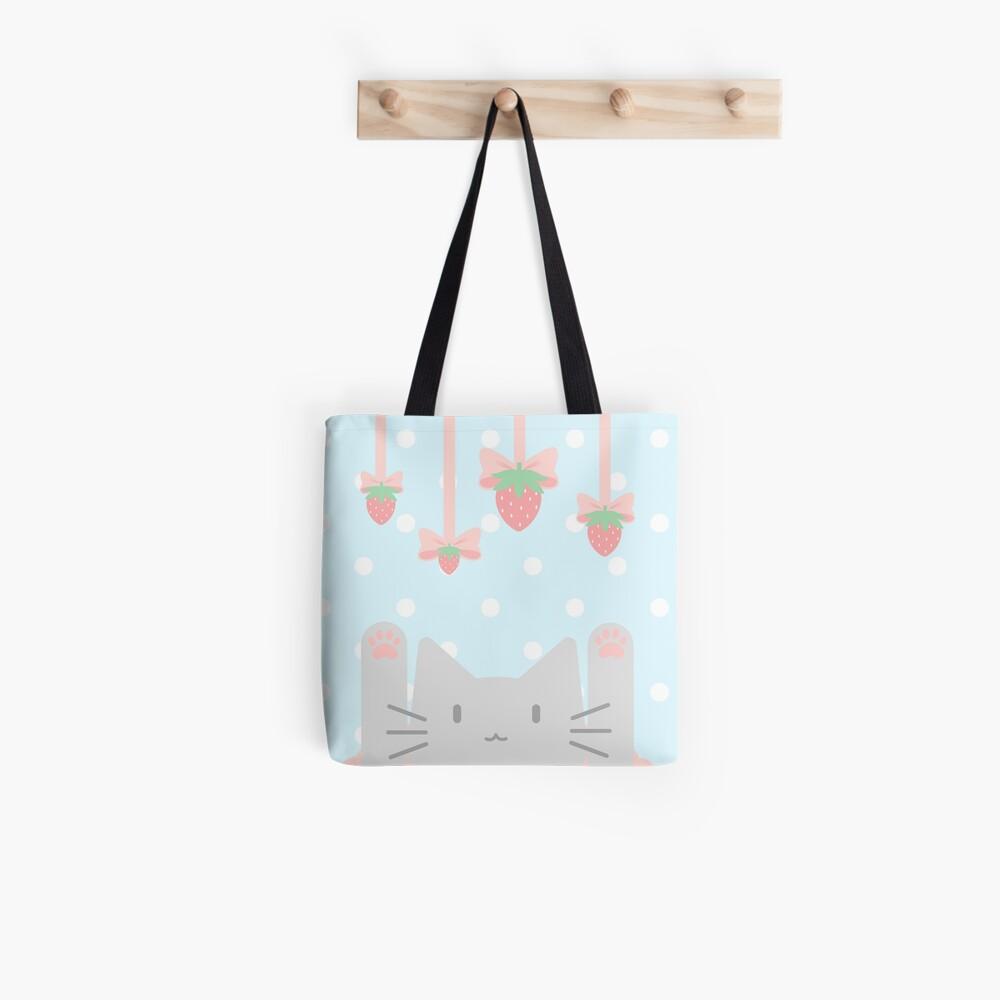 Strawberry Ribbon Kittea Tote Bag