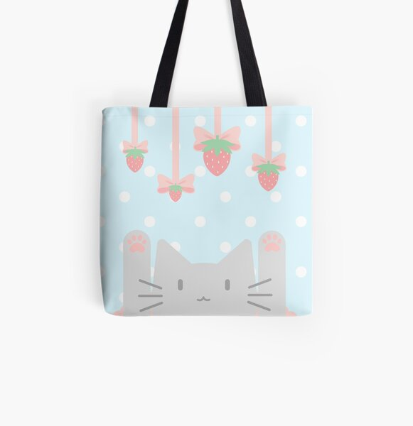 Strawberry Ribbon Kittea All Over Print Tote Bag
