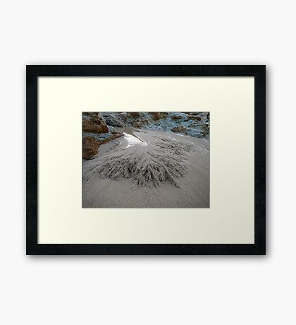 Rain Art in Sand Framed Print