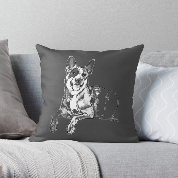 Blue Heeler Drawing Throw Pillow