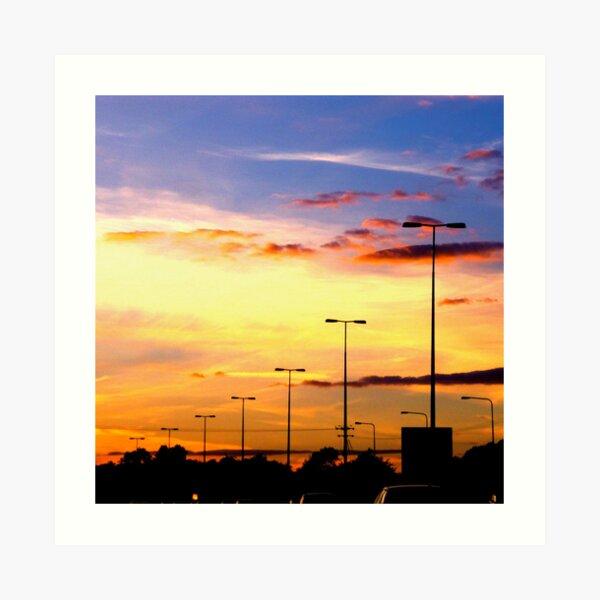 Sunset Lamp Posts Art Print
