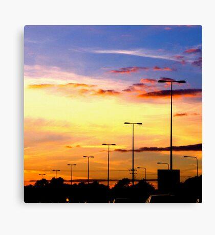 Sunset Lamp Posts Canvas Print