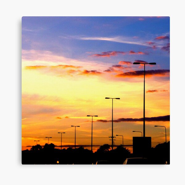 Sunset Lamp Posts Canvas Print
