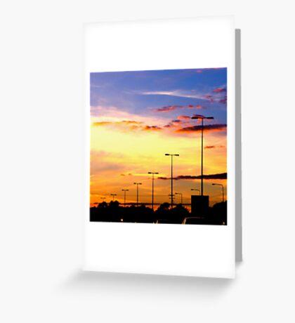 Sunset Lamp Posts Greeting Card
