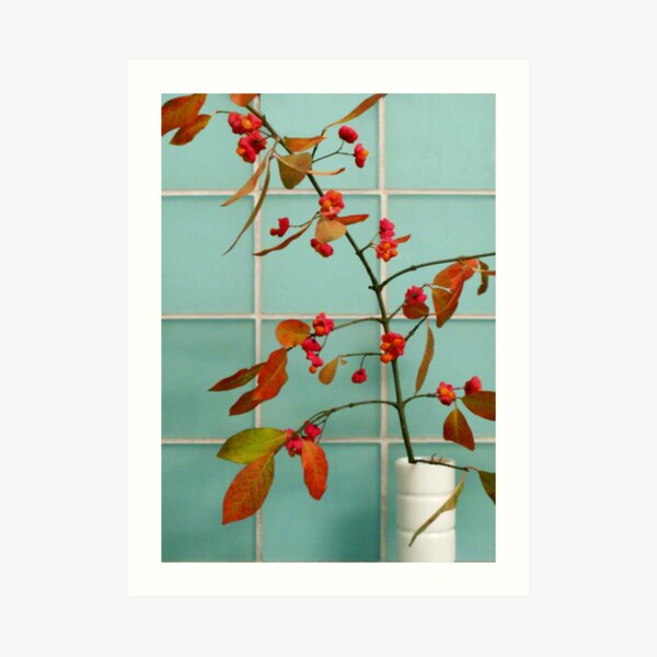 Autumn Twig and Tiles Art Print