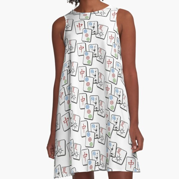 Mah Jong Cubes on White background  A-Line Dress