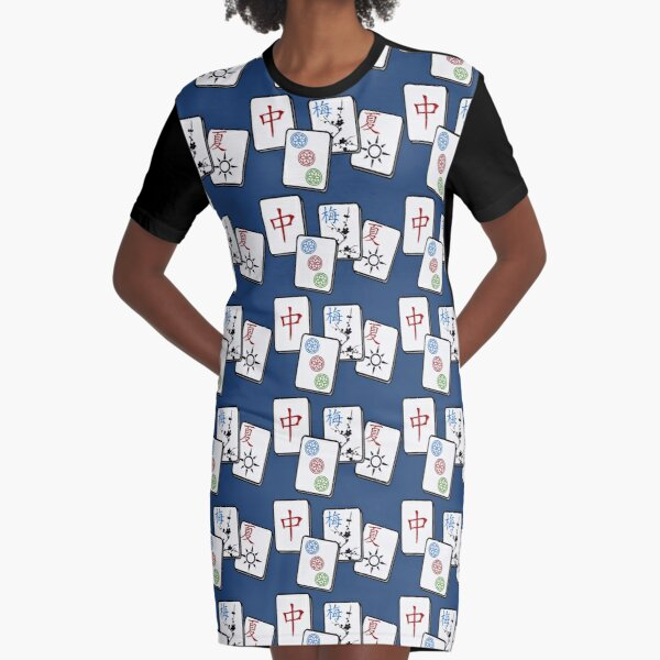 MahJong Cubes Graphic T-Shirt Dress