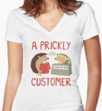 A Prickly Customer Women's Fitted V-Neck T-Shirt