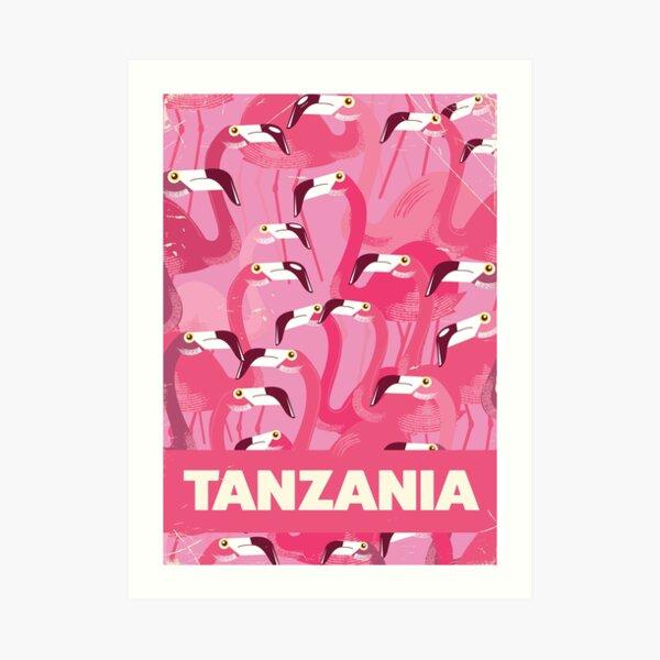 Tanzania Flamingos retro travel poster Art Print