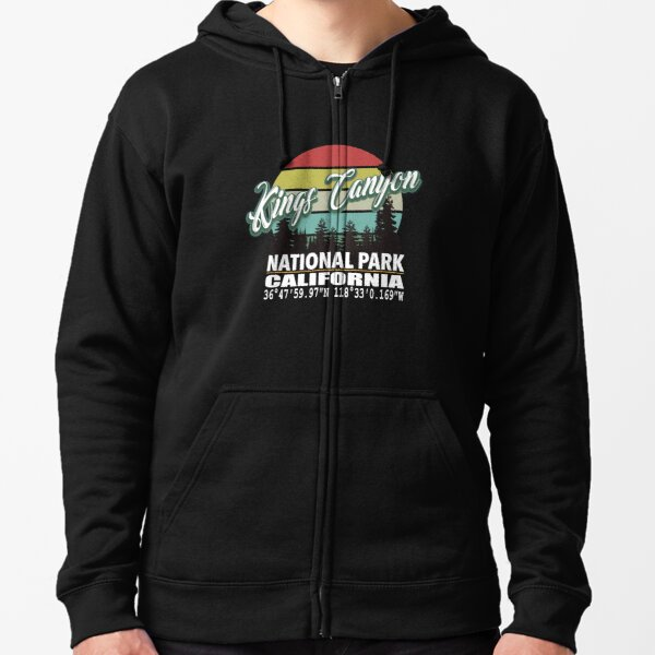 Kings Canyon and Sequoia National Parks With Awesome GPS Location Design Zipped Hoodie
