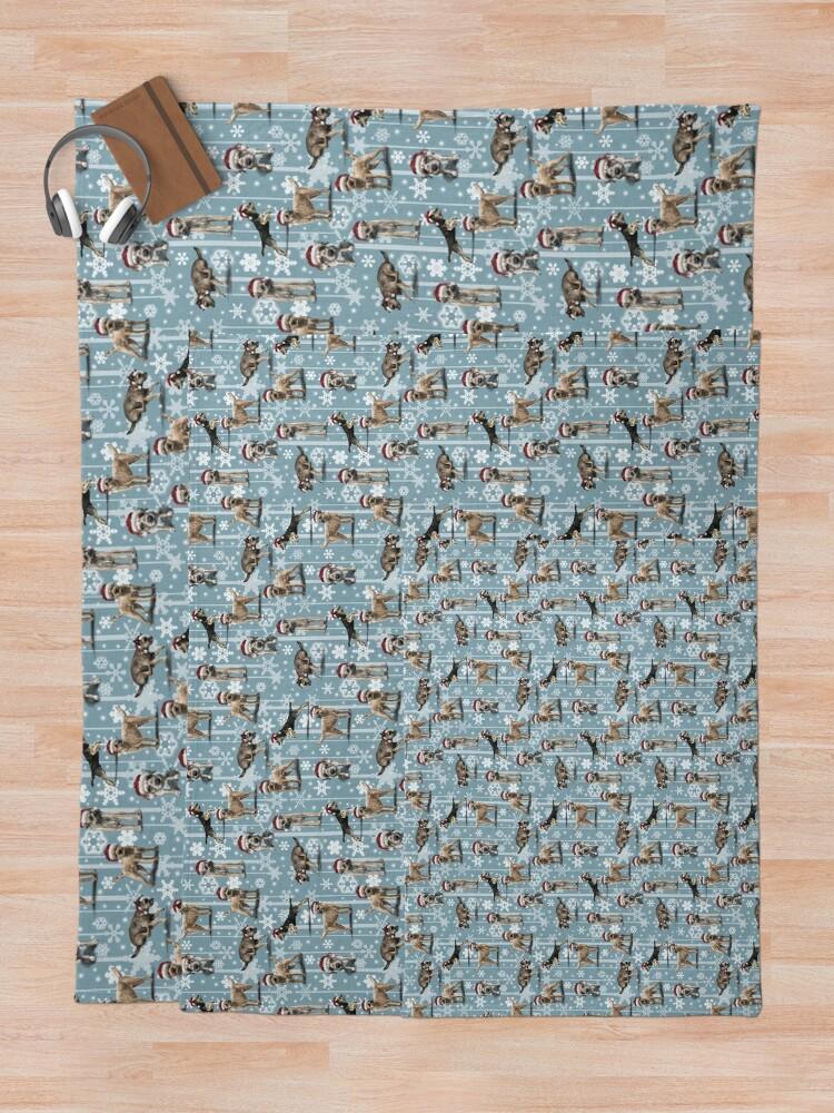 Alternate view of The Christmas Border Terrier Throw Blanket