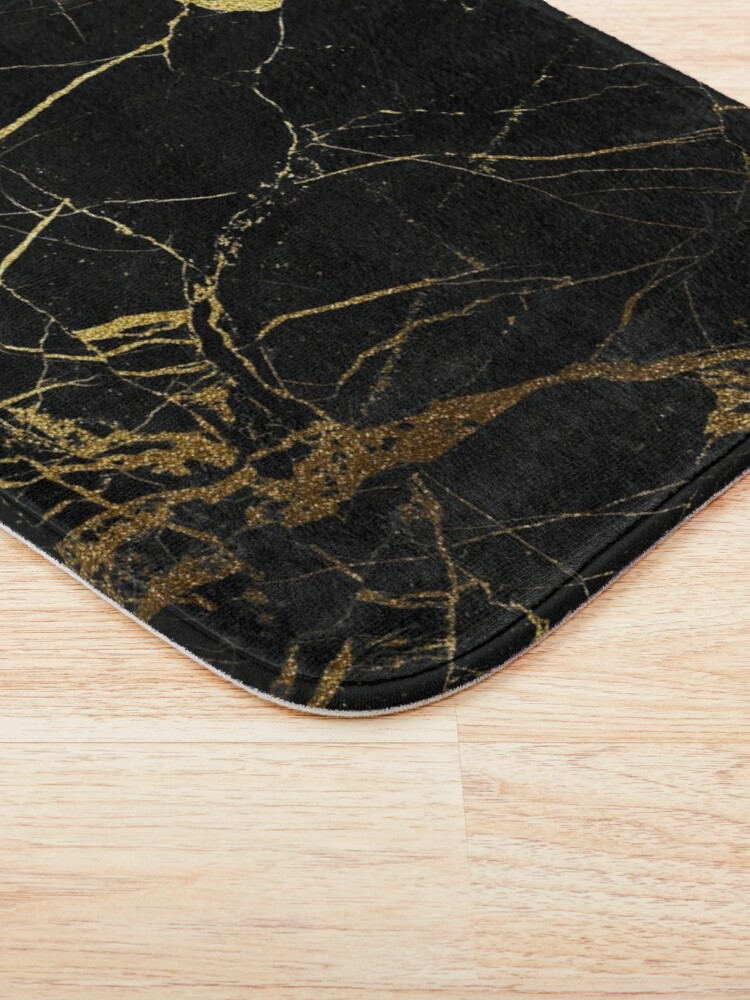 Alternate view of Black and gold Marble | Texture  Bath Mat