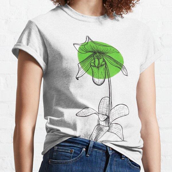 Green Lady Slipper Orchid Flower Classic T-Shirt