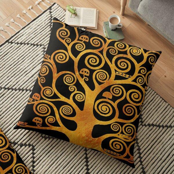 Arbre Klimt Or & Noir Coussin de sol