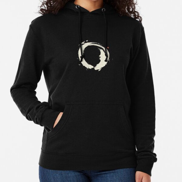 Black Ensō / Japanese Zen Circle Lightweight Hoodie
